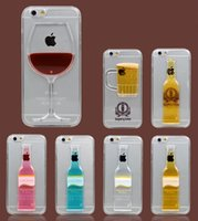 beer glass mugs - iPhone S cases with liquid quicksand red wine cocktail glass beer mug bottle iPhone transparent back cover
