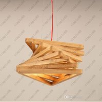 Wholesale Modern pendant lamp Creative wood chandelier Restaurant wooden hanging pendant light Nordic IKEA Lighting fixture V V