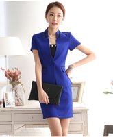 ladies skirt suits - 2015 Lady Wear Blue Short Sleeve Suit Skirt Slim Girl Formal Dress Beautician Overalls Clothing