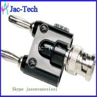 banana jack connector - 100Pcs BNC Male plug to Two dual Banana binding Male jack connector adapter