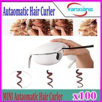 Wholesale 100pcs Hot selling mini automatic hair roller curler pro ceramic hair curling wand lcd profesional magic hair curler YX MN JFQ