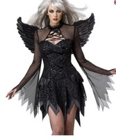 adult fairy tales - New Sexy Halloween Costume Fancy Fairy Tale Cosplay Adult Black Fallen Angel Costume Sexy Bodysuit Womens Role Playing Halloween Ideas