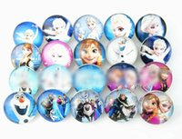 Wholesale Hot cartoon ELSA ANNA trendy glass mm stone Snap Button DIY fit for Charm Styles Button Ginger Snaps Jewelry