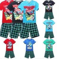 Cheap Summer cartoon baby clothes suit boys t-shirts+Pants 2 PCS cartoon Minecraft clothes baby clothing cotton clothes suit set