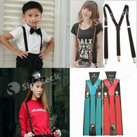 Wholesale Kid Adjustable Suspenders Solid Shoulder Clip on Belt Straps Elastic Brace Y back Candy Unisex Children Adult Boys Girls Pants Free DHL
