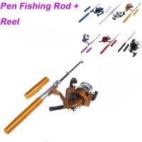 baitcasting combos - 6 Colors Portable Pocket Pen Shape Aluminum Alloy Fishing Rod Mini Baitcasting Rods Pole Pesca Fishing Reel Wheel Combos Set