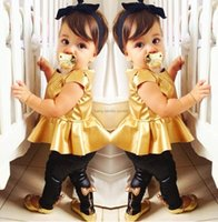 gold leggings - Gold Girls Clothes Sets Jumper Tops Butterfly Pants Leggings Children s Fashion T shirts Trousers Suit