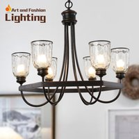 Wholesale Popular Iron Cottage Chandelier Vintage Surface With Clear Glass Light Shade Special Designer Idea E14 lights
