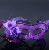 Wholesale Masquerade Costume Party Masks Purple Red Black Flower Feather Mask Club Christmas Halloween Dance Masks Half Face Mask for Venetian Women