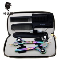 Wholesale Hot Smith Chu in Professional Hair Scissors set Straight Thinning barber shears colorful CR13 HRC