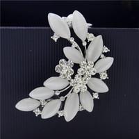 opal - New Design Fashion Exaggerated Personality Women Opal Leaf Ear Cuff K Gold Plated CZ Rhinestone Flower Ear Cuffs Ear Clip Stud Earrings
