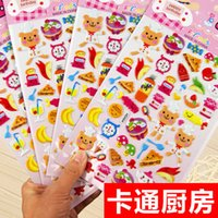 Wholesale Kitchen stuff stickers for children kids toys kitchen accessories pretend play bright color D puffy sticker adhesive stickers gift party