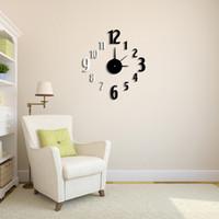 Número de dígitos Relojes clásico contraste del color DIY Reloj efecto del espejo del reloj de pared desmontable de vidrio acrílico sistema de la etiqueta Decoración H15395
