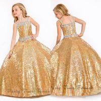 Wholesale 2015 Glitz Gold Sequins Girl s Pageant Dresses Spaghetti Straps Floor Length Ball Gown Flower Girls Dresses for Weddings