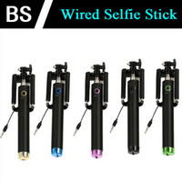 Wholesale MINI folding Self pole wired Selfie Stick Monopod for Iphone Plus s Wired Palo Selfie For SAMSUNG Android for IOS Groove Camera