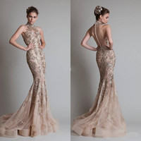 Wholesale 2016 Champagne Evening Dresses High Neck Mermaid Court Train Zuhair Murad Vestidos With Golden Appliques Back Covered Buttons Prom Dresses