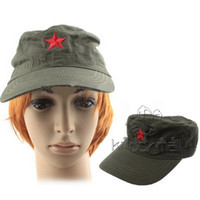 Wholesale Caps Red Star Military Cadet Cap Hat NO Hot Embroidered Comfotable Black Green Colors for Outdoor