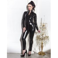 Wholesale Women Black Leather Sexy Lingerie Bodysuit Novetly Exotic Clubwear Ladies Body Suit Female Long Overalls macacao feminino longo