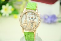 Wholesale The new high grade PU diamond the Eiffel Tower the Arc de Triomphe Watch stereo watch tower H