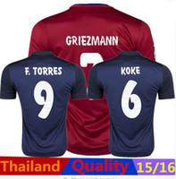 superior calidad de Tailandia 2015-2016 Temporada hogar lejos camiseta del Atlético de Madrid camiseta de fútbol soccer Griezmann ARDA GABI KOKE F.TORRES KOKE
