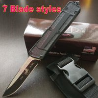 Wholesale MICROTECH Scarab Black handle Black blade Single blade Fine edge Tactical knife survival knife knives with box