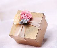 Wholesale 30Pcs Gold Candy Boxes Matte thin material Gift Box Wedding Favor Holders Metal Square Boxes Style In Stock