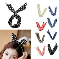 Wholesale Delicate Fashion Rabbit Bunny Ear DIY Wire Cute Girl Headband Scarf Hair Band Bow Head Wrap Dot cm Colorful