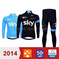 Wholesale sky men winter autumn warm cycling Jersey sets with long sleeve bike top bib pants in cycling clothing bicycle wear