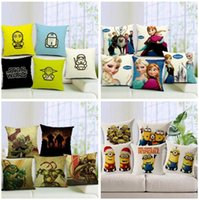 Wholesale Star Wars Pillow Covers Cartoon Superheros Minions Cushion Covers Linen Office Home Sofa Pillow Case Cushion Cover Throw Pillow Cases
