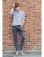 Wholesale Men Mandarin Collar Striped Blouse Cotton Top Summer Style Man Korea Roll Up Long Sleeve Pure Fresh Casual Camisa Masculina