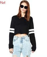 crop tops - New Fashion Sexy Clothing Women Crooped Tops Long Sleeve T shirt Striped Hot Clubwear Sports Tops Cropped Sweatshirts Black White SV023964