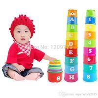 Wholesale Baby Anak Anak Mainan Pendidikan Angka Surat Folding Cup Pagoda Hadiah M0038 W0 SYSR