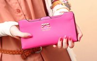 Wholesale new fashion brand salomon clutch purses cute wallet with bowknot for girls
