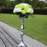 metal candle stand - Wholesales Wedding Candle Holder Romantic Standing Wedding Candlestick Wedding Flower Stands Silver Candelabra JM0056 Salebags