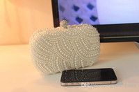 Wholesale 2016 Popular Unique Style White Ivory Pearl Bridal Hand Bags for Wedding Evening Party Event EM01085