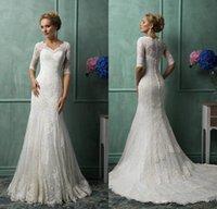 Cheap Amelia Sposa 2016 Wedding Dresses Lace Half Long Sleeves Plus Size Mermaid V Neck Court Train Glamorous 2015 Winter Church Bridal Gowns