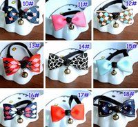 Wholesale UPS Fedex Free Ship Pet Dog Neck Tie Cat Dogs Bow Ties Bells Headdress Adjustable Collars Leashes Apparel Christmas Decorations Ornaments