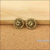 alloy wheel spacer - Steampunk Gear Vintage Charm Antique Bronze metal wheel round spacer Watch Accessories gold zinc alloy finding mm