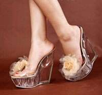 Wholesale Women sandal shoes woman sandals new kvoll ultra high heels flower slippers transparent women s special shaped wedges