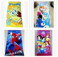 Wholesale 58 designs Towel The Avengers Superhero Batman Mickey Towels Kids Beach Towels Princess Printed Cotton Towel Baby Cartoon Bath Towels