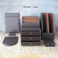 Wholesale Cabinet Desk Organizers - Wholesale-7PCS set PU leather business office stationery desk organizer set file holder 3-drawer cabinet note case card stand K258