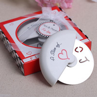 Wholesale Factory A Slice of Love Stainless Steel Pizza Wheel Cutter Cake Server for Wedding Favors Pizza Knife with gift box