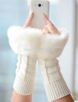 Wholesale Korean Women s White Warme Arm Warmers Lady Snow Hand knitting wool Fingerless Long Half fingerless Ski Gloves amp Mittens