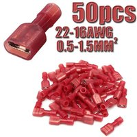 Wholesale 50pcs Female Spade Red Model Nylon Insulated Terminals Electrical Crimp Connector AWG mm2 High Quality High Quality