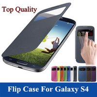 galaxy s battery - Luxury View Window Cover Leather PU Flip Case For Samsung Galaxy S4 I9500 Phone SIV S IV Cases Battery Housing Design