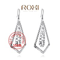 Wholesale 015 ROXI Sterling silver Fine Jewelry Silver AAA CZ Modelling Beauty Prismatic Drop Earrings Party Christmas Gifts3020071384