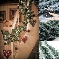 beautiful stair - M Christmas Decoration Dark Green Tops White Edge Ribbon Garland New Year Beautiful Noel Door Stairs Ornement