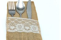 Wholesale Vintage quot x8 quot Hessian Burlap Lace Wedding Tableware Pouch Cutlery Holder Decorations Favor Table Decoration Accessories