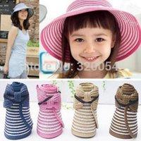 Wholesale New bowknot sun hat Children Folding straw hat summer stripes empty caps multicolor