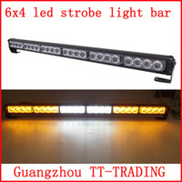 red white led strobe lights - 6x4 led Police strobe lights vehicle strobe light bar car warning lights led emergency strobe lights DC12V RED BLUE WHITE AMBER